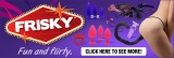 Frisky web banner with items on purple 714 x 239