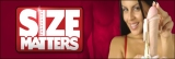 Size Matters web banner with female model. 513 x 172
